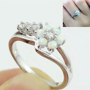 Opal flower petal silver plated ring